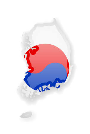 South Korea flag and outline of the country on a white background. Vector illustration.
