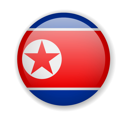 North Korea flag round bright icon vector Illustration Ilustrace