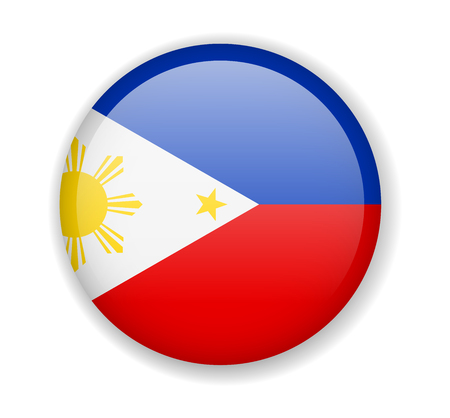 Philippines flag round bright icon vector Illustration Ilustrace