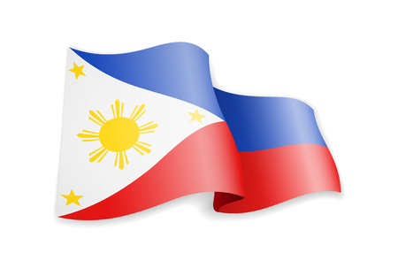 Philippines flag in the wind. Flag on white background vector illustration Ilustrace