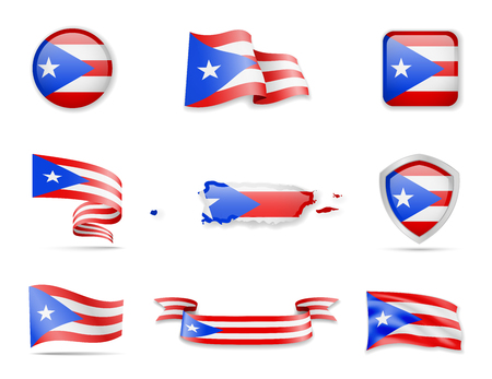 Puerto Rico flags collection. Flags and outline of the country vector illustration set