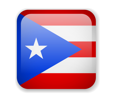 Puerto Rico flag bright square icon. Vector Illustration Ilustrace