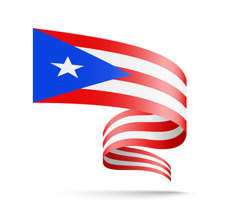 Puerto Rico flag in the form of wave ribbon vector illustration on white background. Illustration