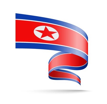 North Korea flag in the form of wave ribbon vector illustration on white background.