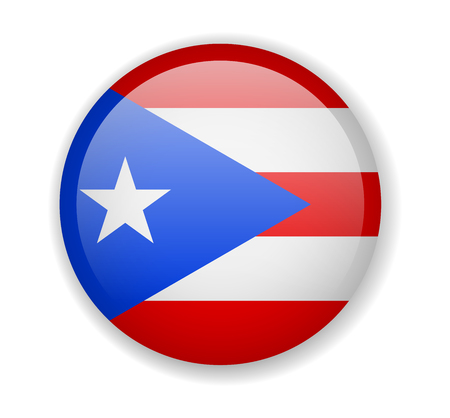 Puerto Rico flag round bright icon vector Illustration