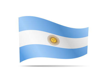 Waving Argentina flag in the wind. Flag on white background vector illustration Ilustrace