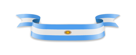 Argentina flag in the form of wave ribbon. Vector illustration.