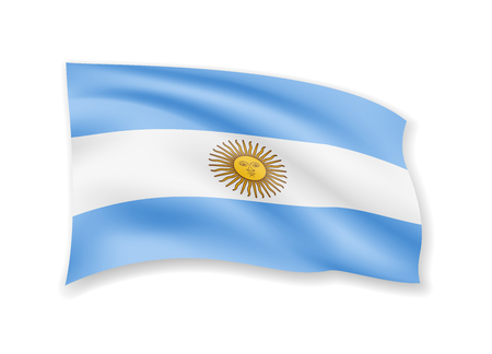 Waving Argentina flag on white. Flag in the wind vector illustration.