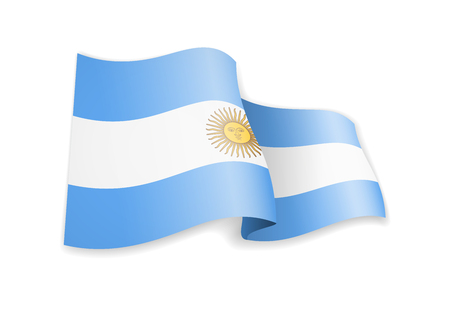 Argentina flag in the wind. Flag on white background vector illustration