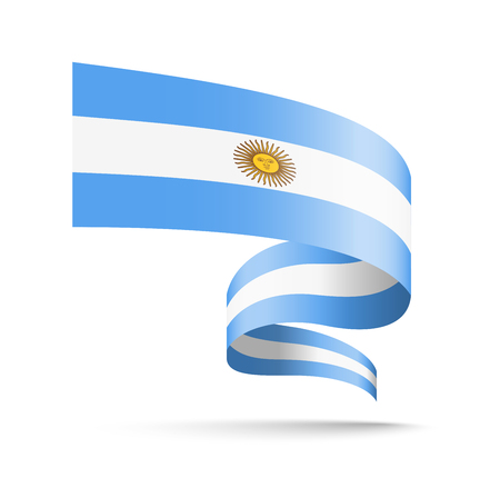 Argentina flag in the form of wave ribbon vector illustration on white background.
