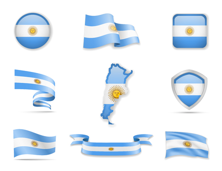 Argentina flags collection. Flags and outline of the country vector illustration set