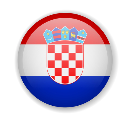 Croatia flag round bright icon vector Illustration Ilustrace