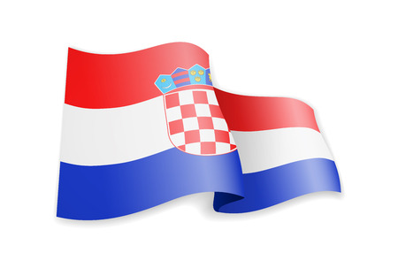 Croatia flag in the wind. Flag on white background vector illustration