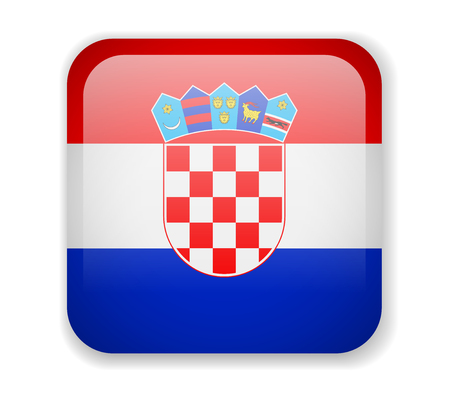 Croatia flag bright square icon. Vector Illustration