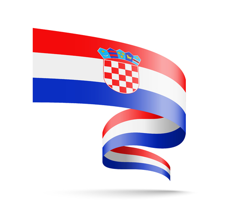 Croatia flag in the form of wave ribbon vector illustration on white background. 矢量图像