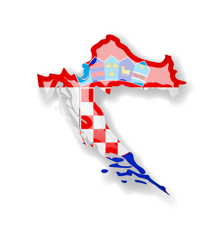 Croatia flag and outline of the country on a white background. Vector illustration.