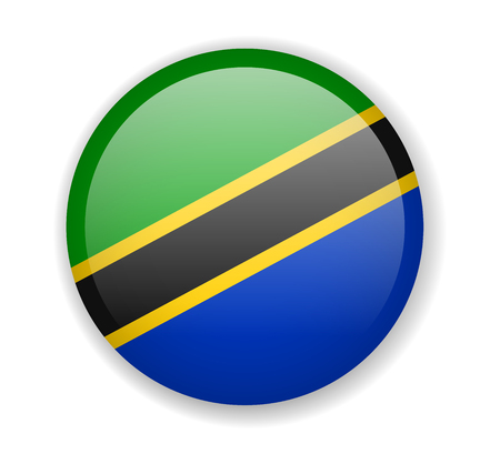 Tanzania flag round bright icon vector Illustration