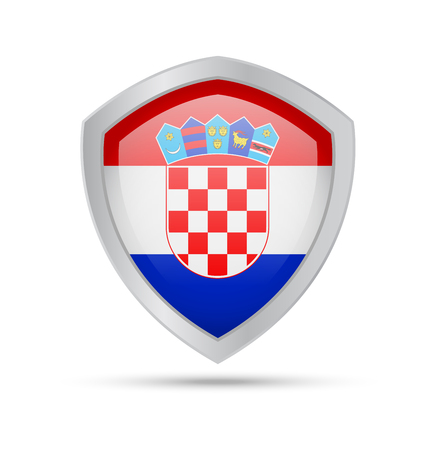 Shield with Croatia flag on white background. Vector illustration. 矢量图像