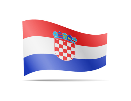 Waving Croatia flag in the wind. Flag on white background vector illustration