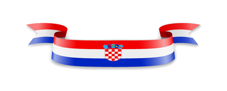 Croatia flag in the form of wave ribbon. Vector illustration. Ilustrace