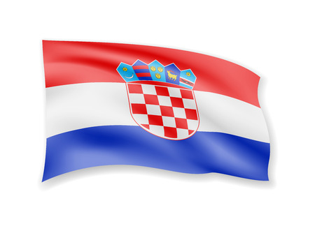 Waving Croatia flag on white. Flag in the wind vector illustration.