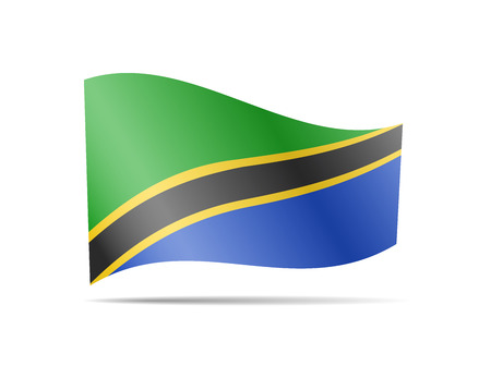 Waving Tanzania flag in the wind. Flag on white background vector illustration