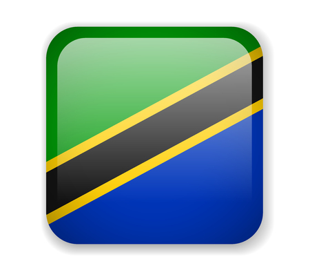 Tanzania flag bright square icon. Vector Illustration