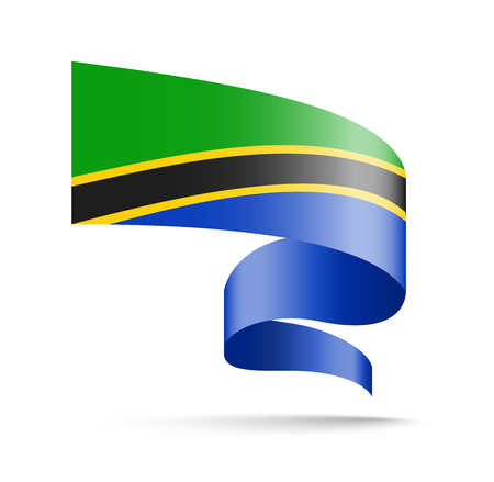 Tanzania flag in the form of wave ribbon vector illustration on white background.