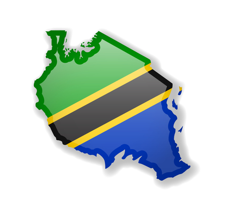 Tanzania flag and outline of the country on a white background. Vector illustration. Ilustrace