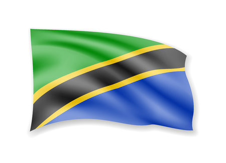 Waving Tanzania flag on white. Flag in the wind vector illustration.