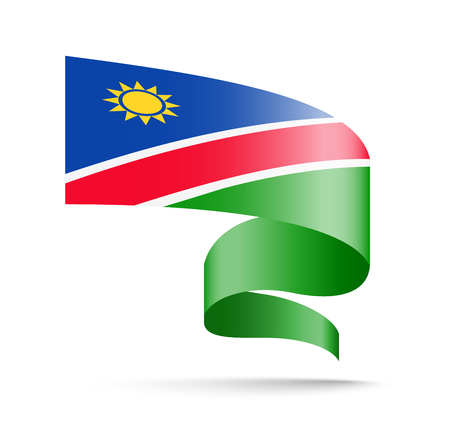 Namibia flag in the form of wave ribbon. Vector illustration on white background.