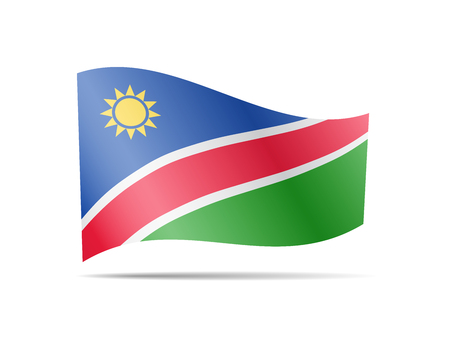 Waving Namibia flag in the wind. Flag on white background. Vector illustration