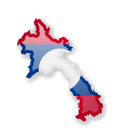 Bandiera del Laos e contorno del paese su sfondo bianco. Illustrazione vettoriale. Vettoriali