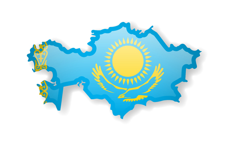Kazakhstan flag and outline of the country on a white background. Vector illustration. Çizim