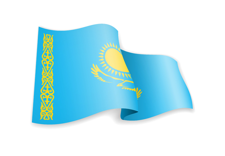 Kazakhstan flag in the wind. Flag on white background vector illustration 일러스트
