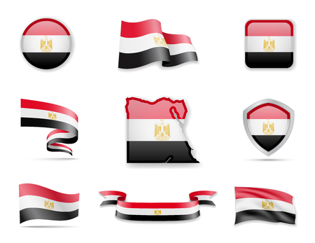 Egypt flags collection. Flags and outline of the country vector illustration set