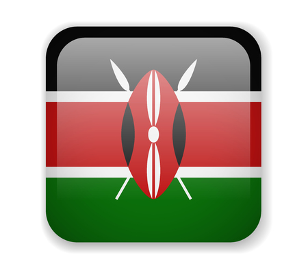 Kenya flag bright square icon. Vector Illustration Vectores