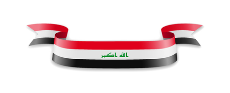 Iraq flag in the form of wave ribbon. Vector illustration.
