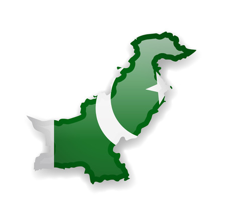 Pakistan flag and outline of the country on a white background. Vector illustration.