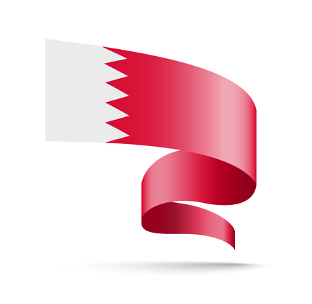 Bahrain flag in the form of wave ribbon vector illustration on white background.