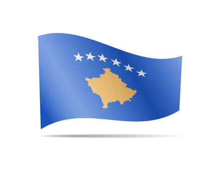 Waving Kosovo flag in the wind. Flag on white background vector illustration
