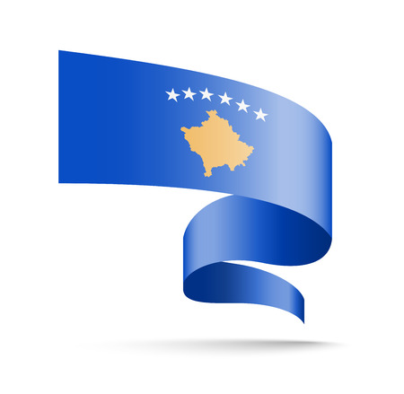 Kosovo flag in the form of wave ribbon vector illustration on white background.