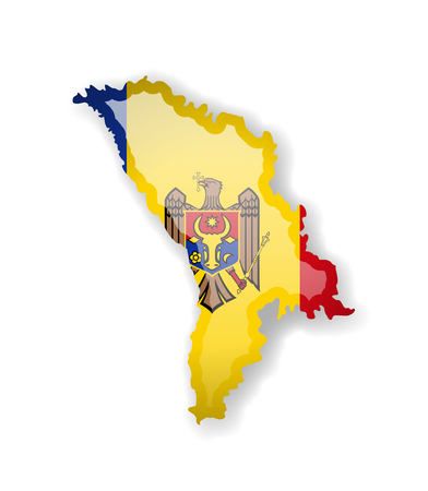 Moldova flag and outline of the country on a white background. Vector illustration. Illustration