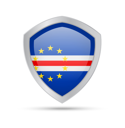 Shield with Cape Verde flag on white background. Vector illustration.