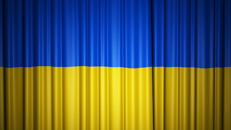 Ukraine flag silk curtain on stage. Bright 3D illustration 3d rendering