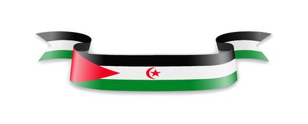 Saharan Arab Democratic Republic flag in the form of wave ribbon. Vector illustration. Vecteurs