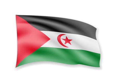 Agitant le drapeau de la République arabe saharienne sur blanc. Drapeau dans l'illustration vectorielle du vent.