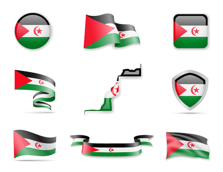 Collection de drapeaux de la République arabe saharienne. Drapeaux et contour de l'ensemble d'illustrations vectorielles de pays