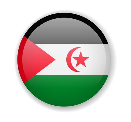 Saharan Arab Democratic Republic flag round bright icon vector Illustration