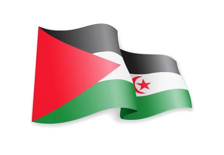 Drapeau de la République arabe saharienne dans le vent. Drapeau sur illustration vectorielle fond blanc